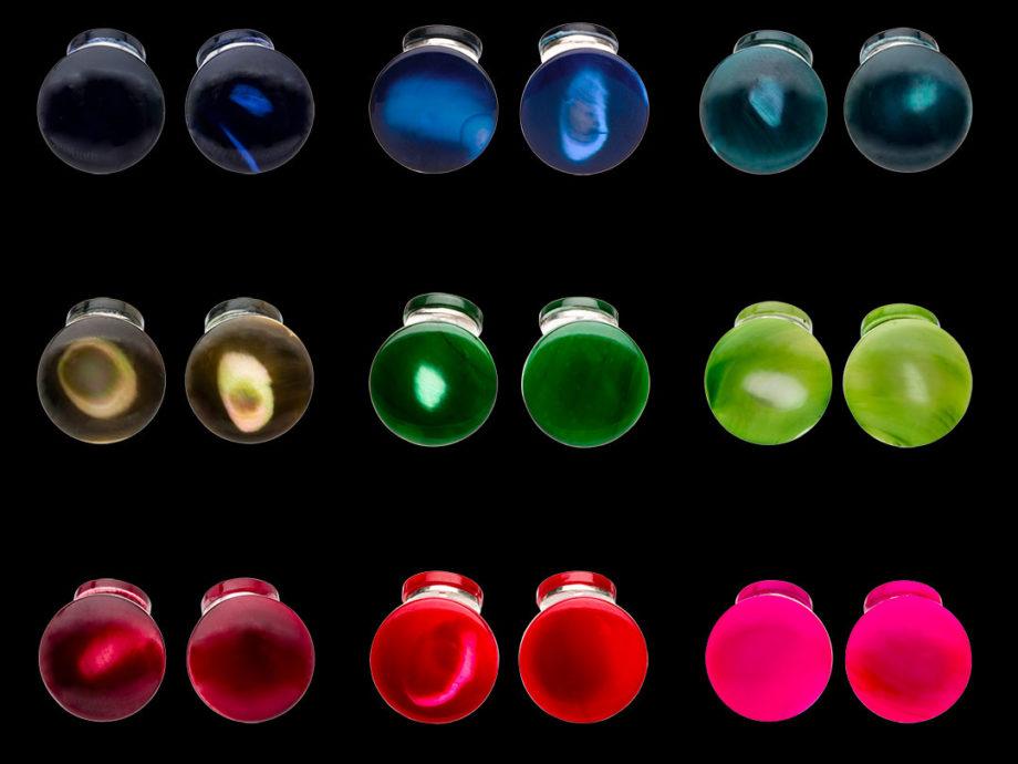 Boutons de manchette Asymétrique couleur(s) en nacre teintée et liens en argent recyclé
