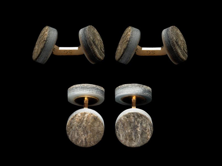 Boutons de manchette, rustique du soir en nacre grise et liens en bronze