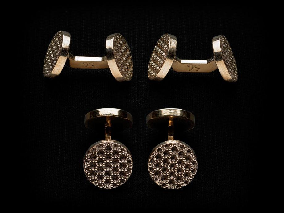 Boutons de manchette serti grain du soir en bronze