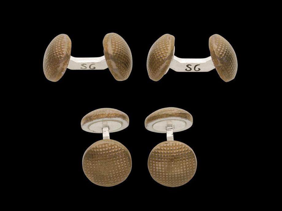 boutons de manchette en porcelaine plaquée bronze et lien en argent