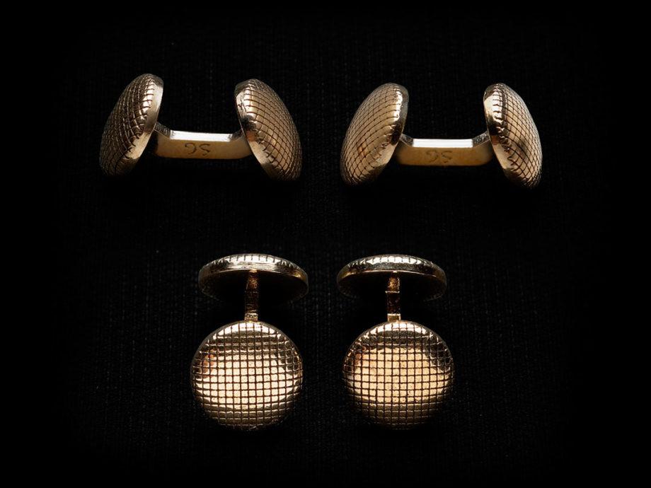 Boutons de manchette tissu bronze
